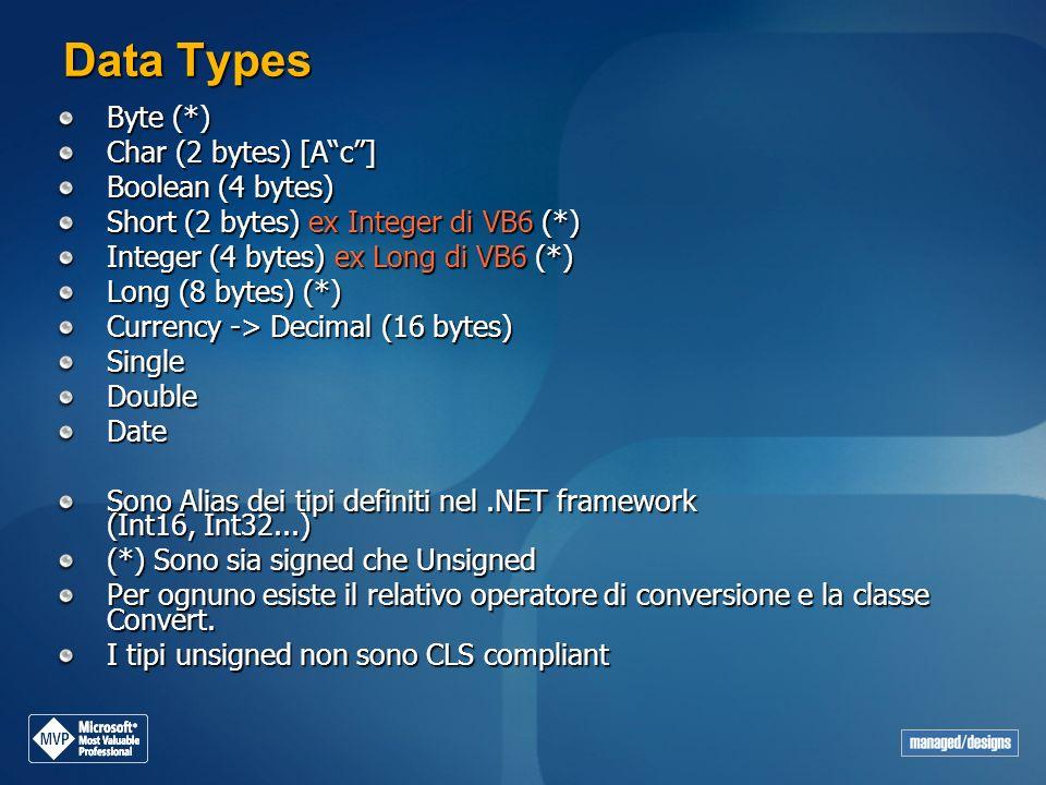Data Types Byte (*) Char (2 bytes) [A c ] Boolean (4 bytes)